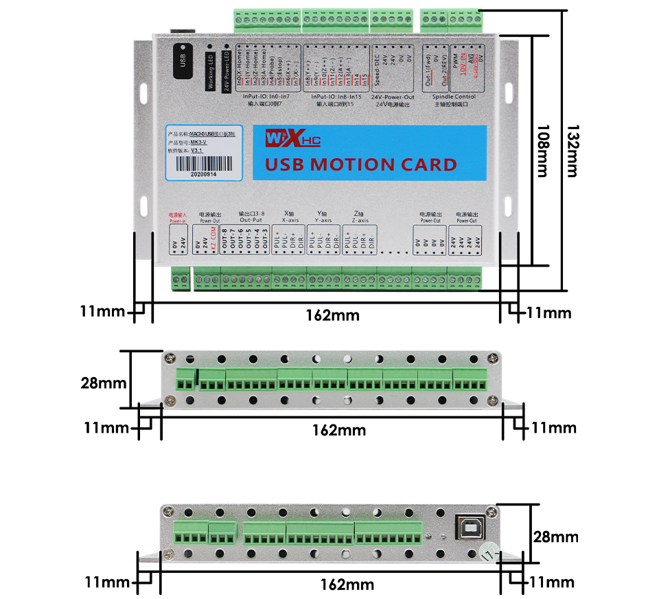 XHC MKX-V 3 Axis CNC Motion Control Card size