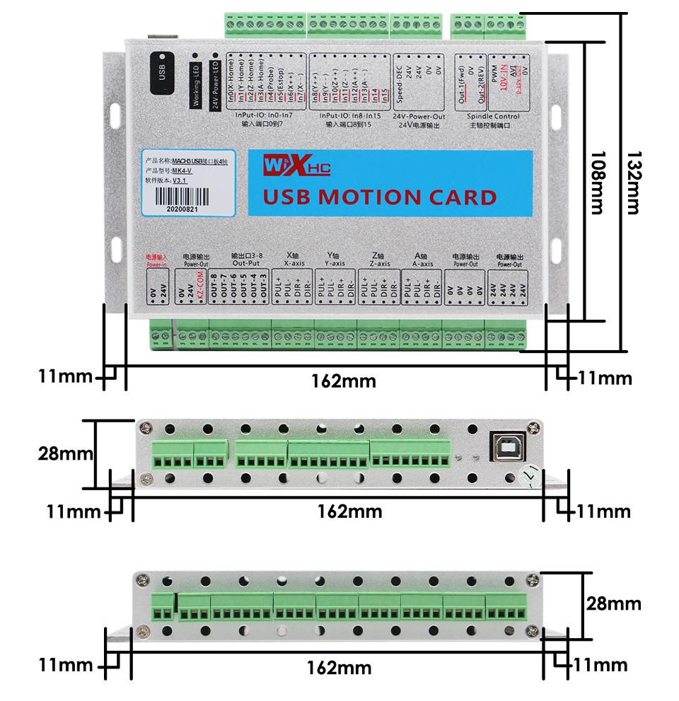 XHC MKX-V 4 Axis CNC Motion Control Card size