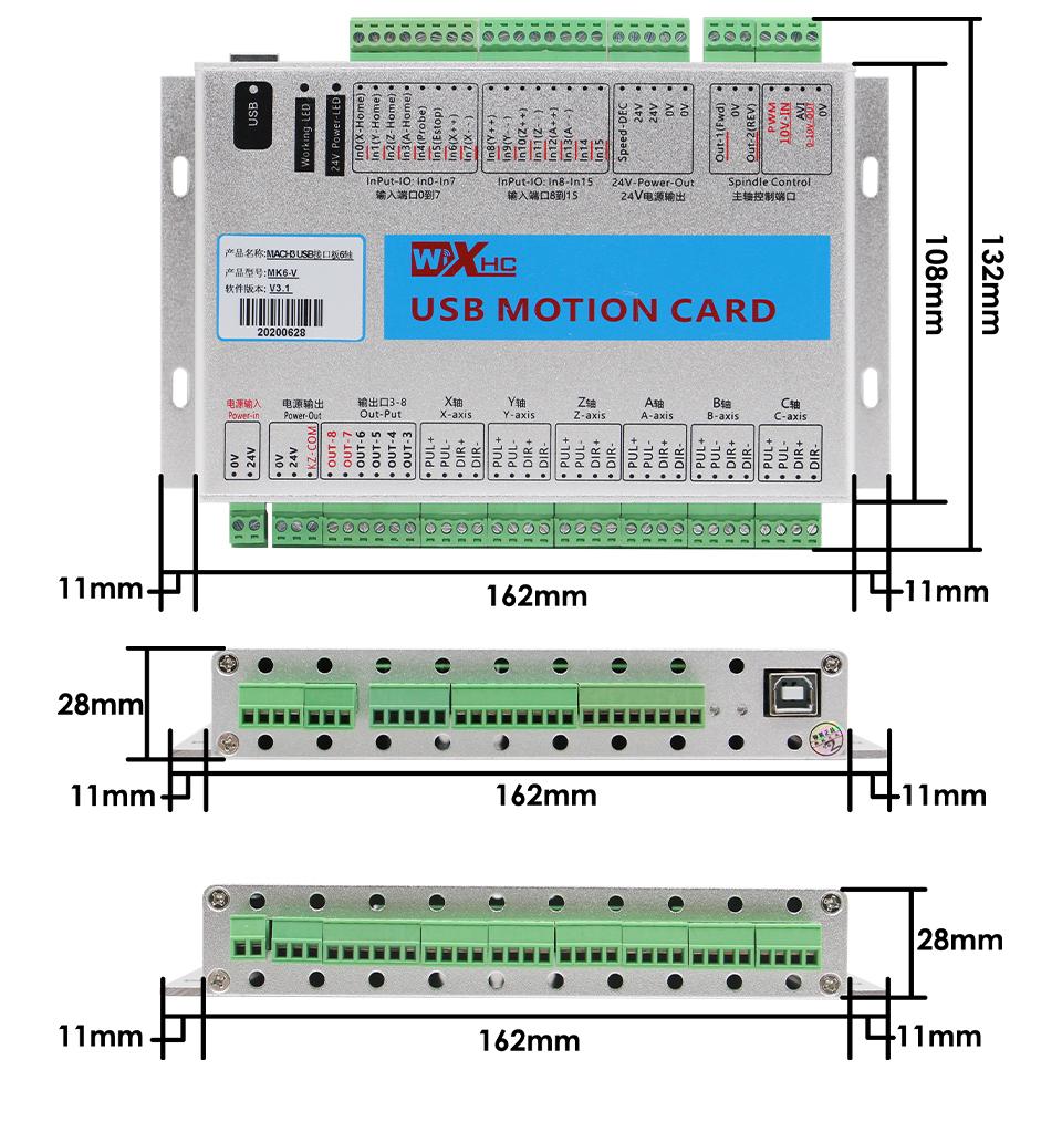XHC MKX-V 6 Axis CNC Motion Control Card size